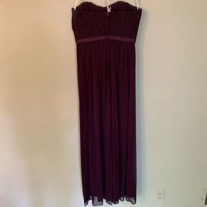 David's Bridal Dresses - David's Bridal Strapless Plum Lace + Mesh Dress